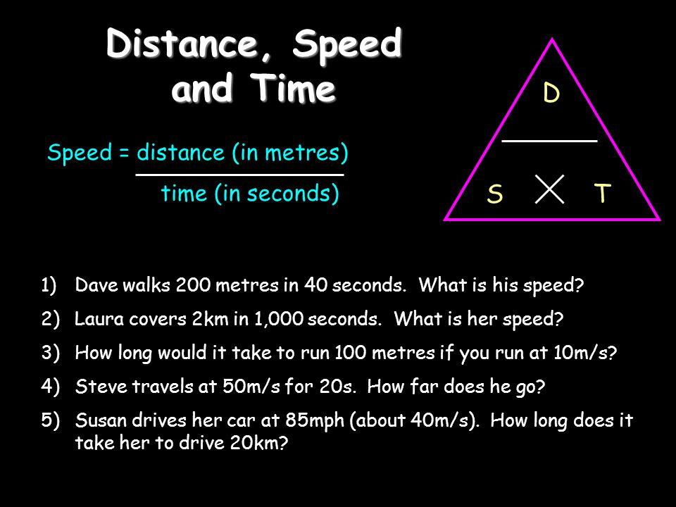 Distance, Speed and Time Speed = distance (in metres) time (in seconds) D TS 1)Dave walks 200 metres in 40 seconds. What is his speed? 2)Laura covers