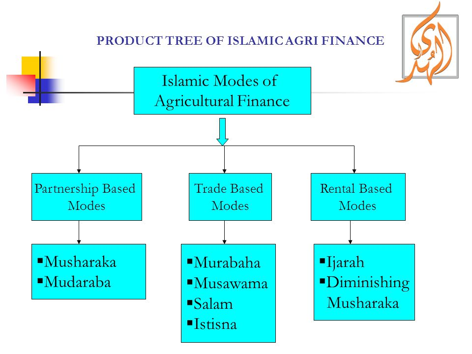 PRODUCT TREE OF ISLAMIC AGRI FINANCE Islamic Modes of Agricultural Finance Trade Based Modes Partnership Based Modes Rental Based Modes  Musharaka  Mudaraba  Murabaha  Musawama  Salam  Istisna  Ijarah  Diminishing Musharaka