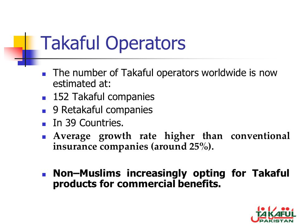 Takaful Operators The number of Takaful operators worldwide is now estimated at: 152 Takaful companies 9 Retakaful companies In 39 Countries. Average