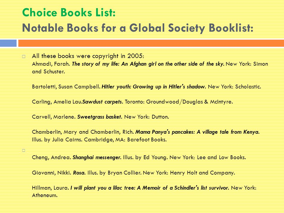 Choice Books List: Notable Books for a Global Society Booklist:  All these books were copyright in 2005: Ahmadi, Farah.