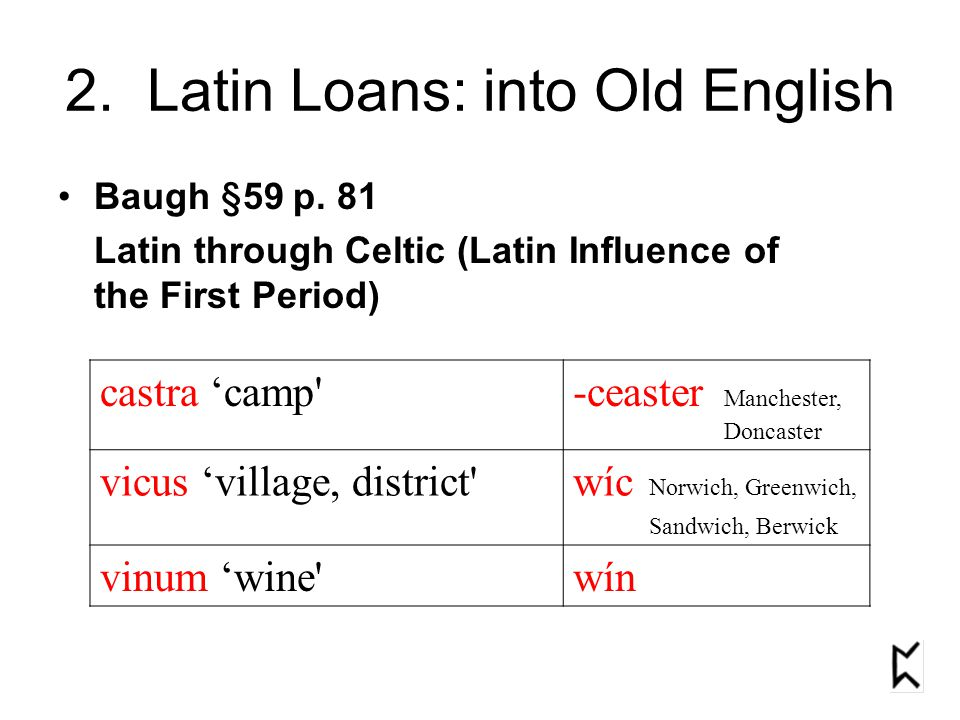 2. Latin Loans: into Old English Baugh §59 p.