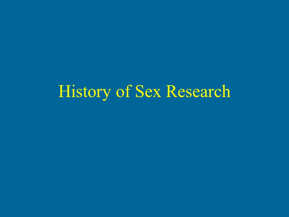 History of Sex Research