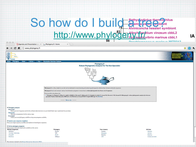So how do I build a tree http://www.phylogeny.fr/