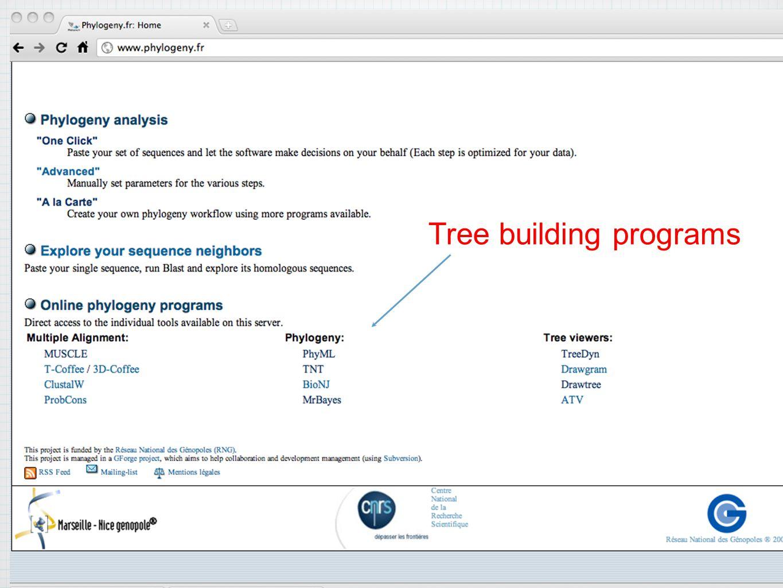 Tree building programs