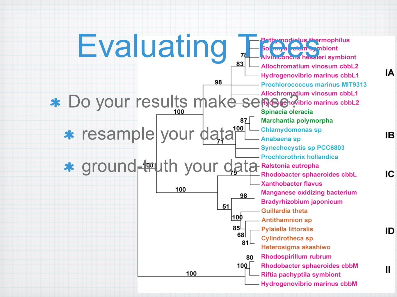 Evaluating Trees Do your results make sense resample your data ground-truth your data