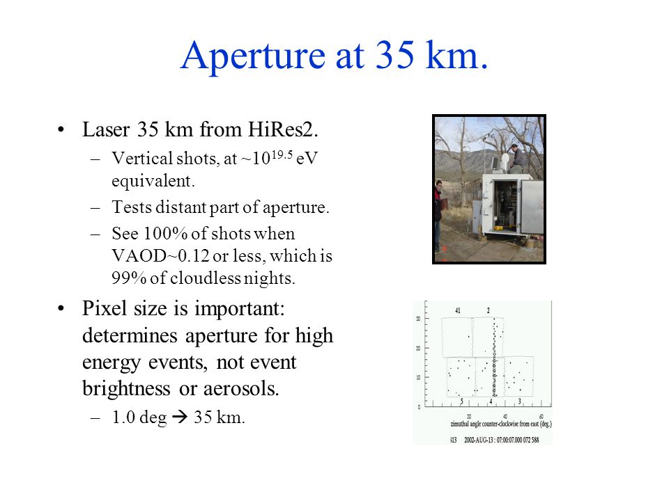 Aperture at 35 km. Laser 35 km from HiRes2. –Vertical shots, at ~10 19.5 eV equivalent. –Tests distant part of aperture. –See 100% of shots when VAOD~