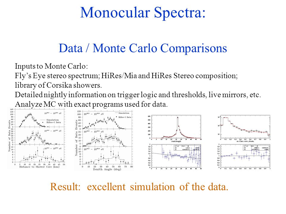 Monocular Spectra: Data / Monte Carlo Comparisons Inputs to Monte Carlo: Fly's Eye stereo spectrum; HiRes/Mia and HiRes Stereo composition; library of