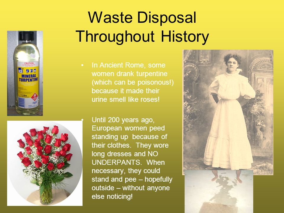 Waste Disposal Throughout History In Ancient Rome, some women drank turpentine (which can be poisonous!) because it made their urine smell like roses.