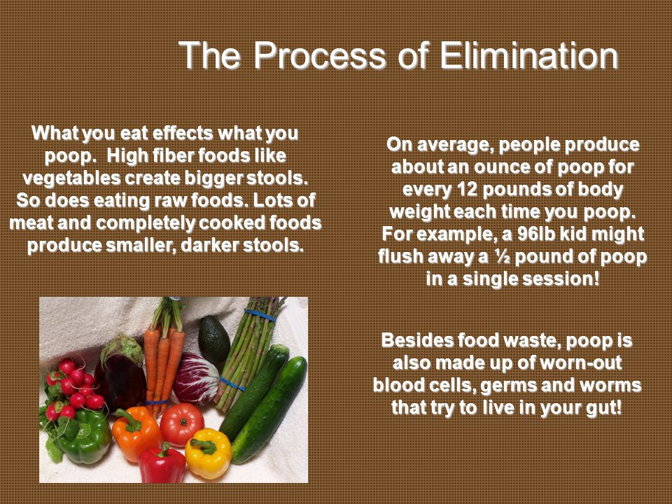 Everybody Poops The Process of Elimination What you eat effects what you poop.