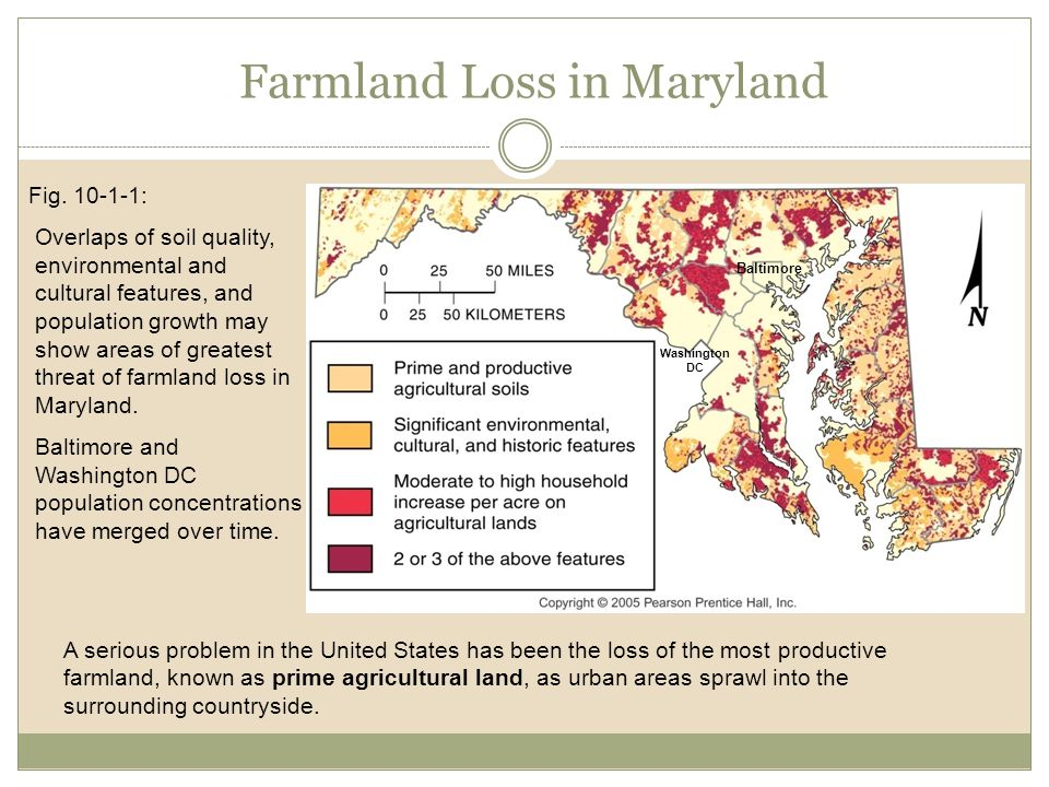 Farmland Loss in Maryland Fig. 10-1-1: Overlaps of soil quality, environmental and cultural features, and population growth may show areas of greatest