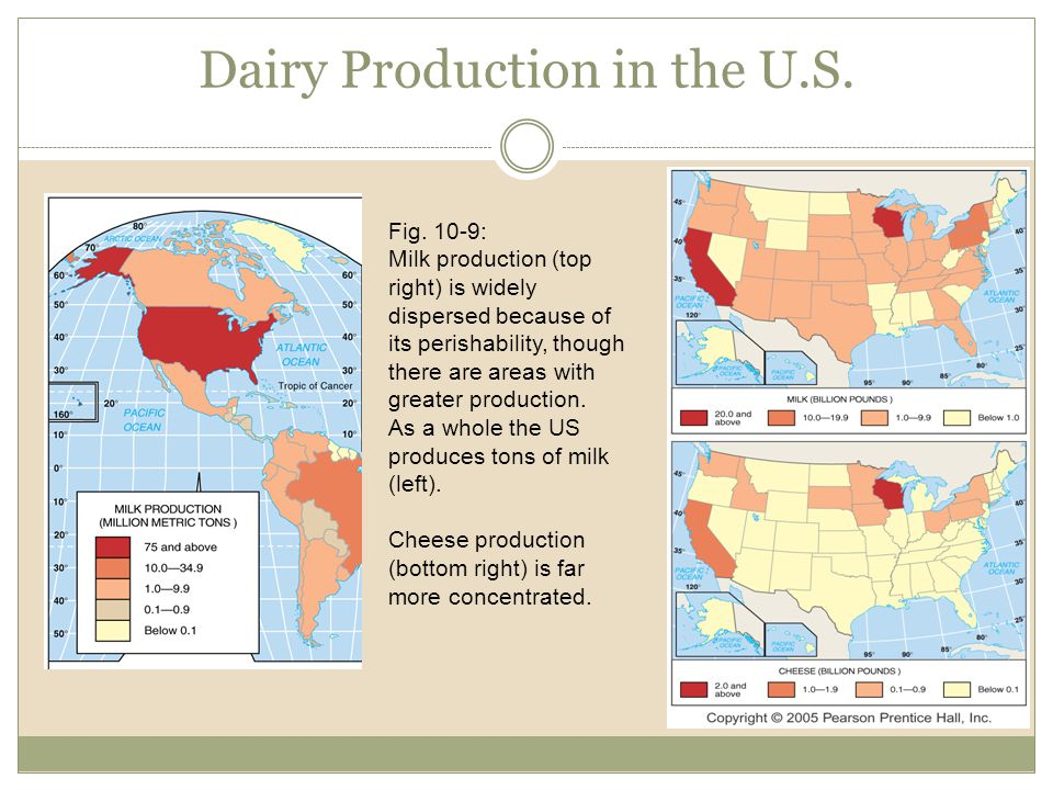 Dairy Production in the U.S. Fig. 10-9: Milk production (top right) is widely dispersed because of its perishability, though there are areas with grea