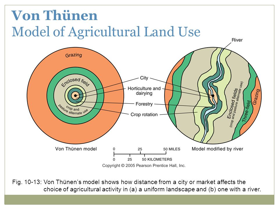 Fig. 10-13: Von Thünen's model shows how distance from a city or market affects the choice of agricultural activity in (a) a uniform landscape and (b)