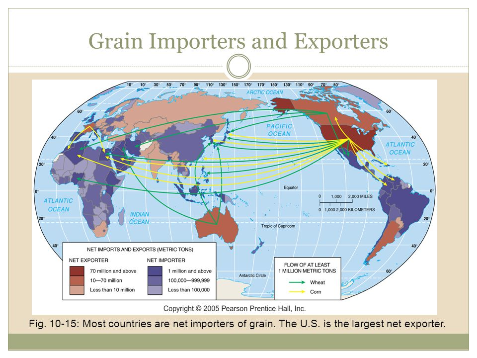 Grain Importers and Exporters Fig. 10-15: Most countries are net importers of grain. The U.S. is the largest net exporter.