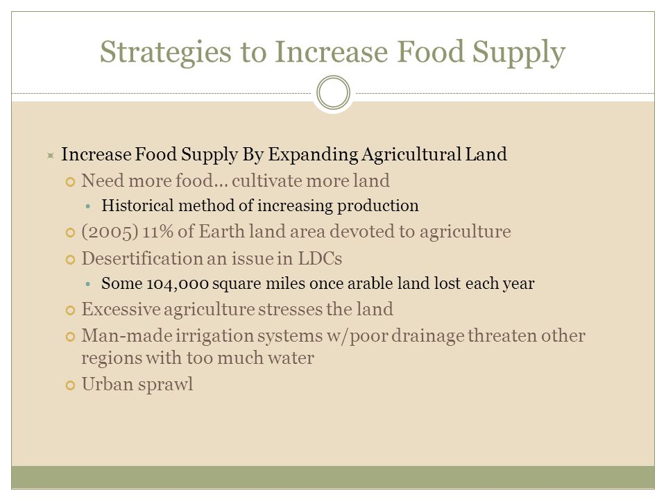Strategies to Increase Food Supply  Increase Food Supply By Expanding Agricultural Land Need more food… cultivate more land Historical method of incr