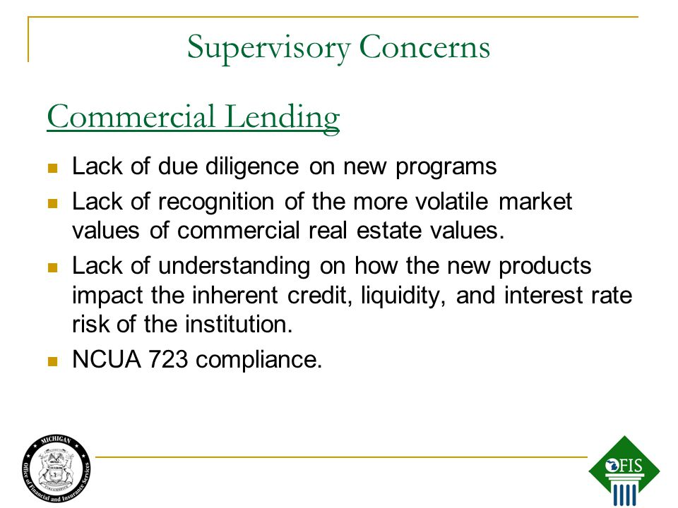 Supervisory Concerns Lack of due diligence on new programs Lack of recognition of the more volatile market values of commercial real estate values.