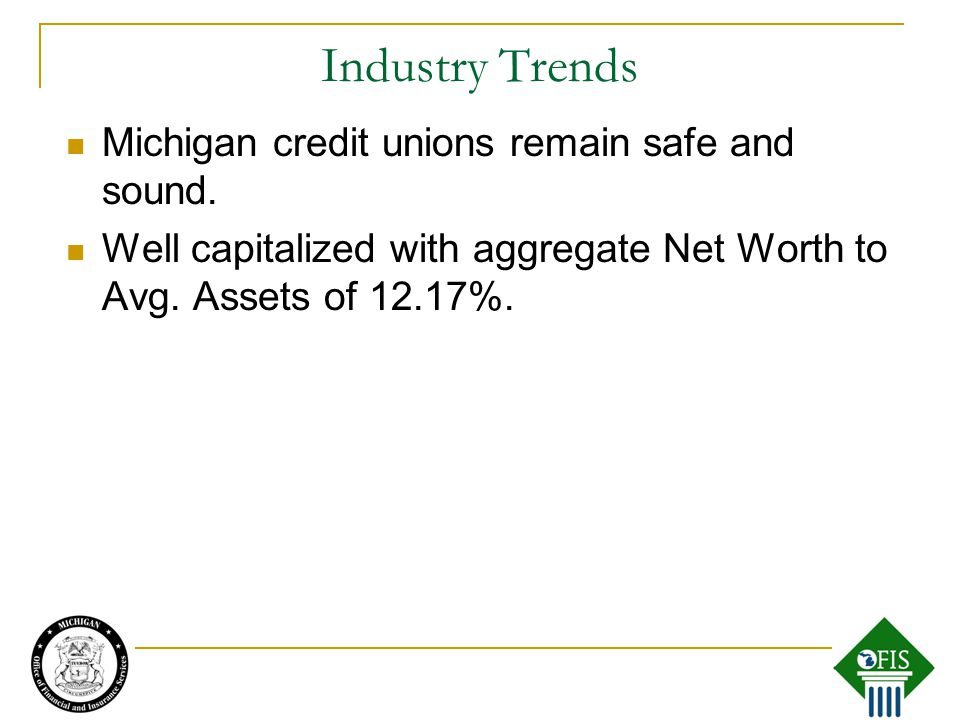Michigan credit unions remain safe and sound. Well capitalized with aggregate Net Worth to Avg.