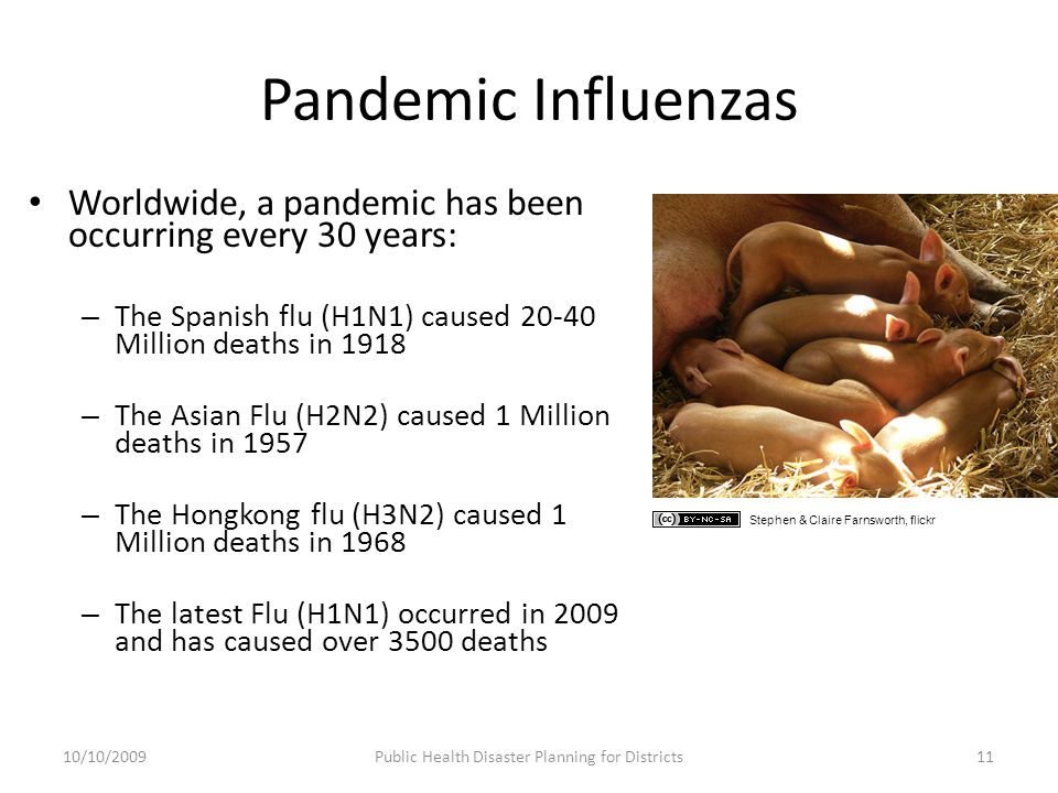 Pandemic Influenzas Worldwide, a pandemic has been occurring every 30 years: – The Spanish flu (H1N1) caused 20-40 Million deaths in 1918 – The Asian Flu (H2N2) caused 1 Million deaths in 1957 – The Hongkong flu (H3N2) caused 1 Million deaths in 1968 – The latest Flu (H1N1) occurred in 2009 and has caused over 3500 deaths 10/10/2009Public Health Disaster Planning for Districts11 Stephen & Claire Farnsworth, flickr