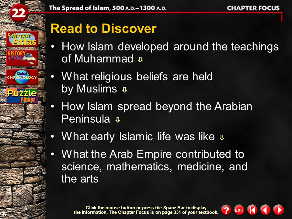 5 Chapter Focus 2 Objectives explain the teachings of Muhammad.