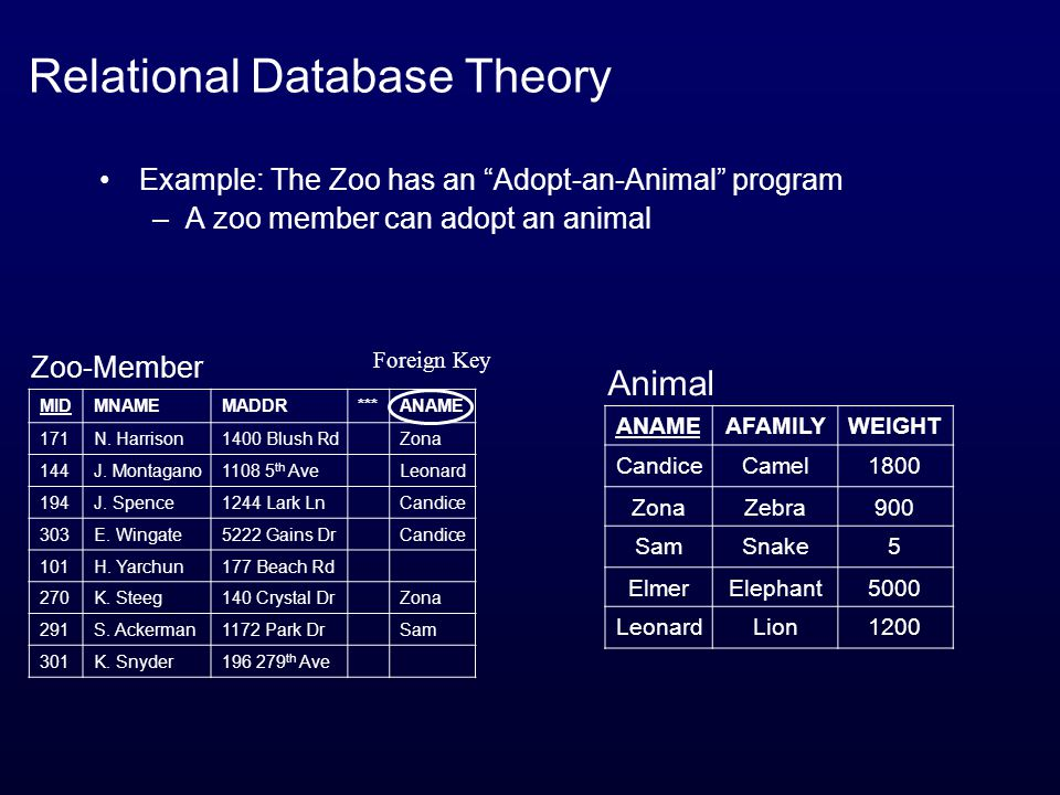 Relational Database Theory Example: The Zoo has an Adopt-an-Animal program –A zoo member can adopt an animal MIDMNAMEMADDR***ANAME 171N.