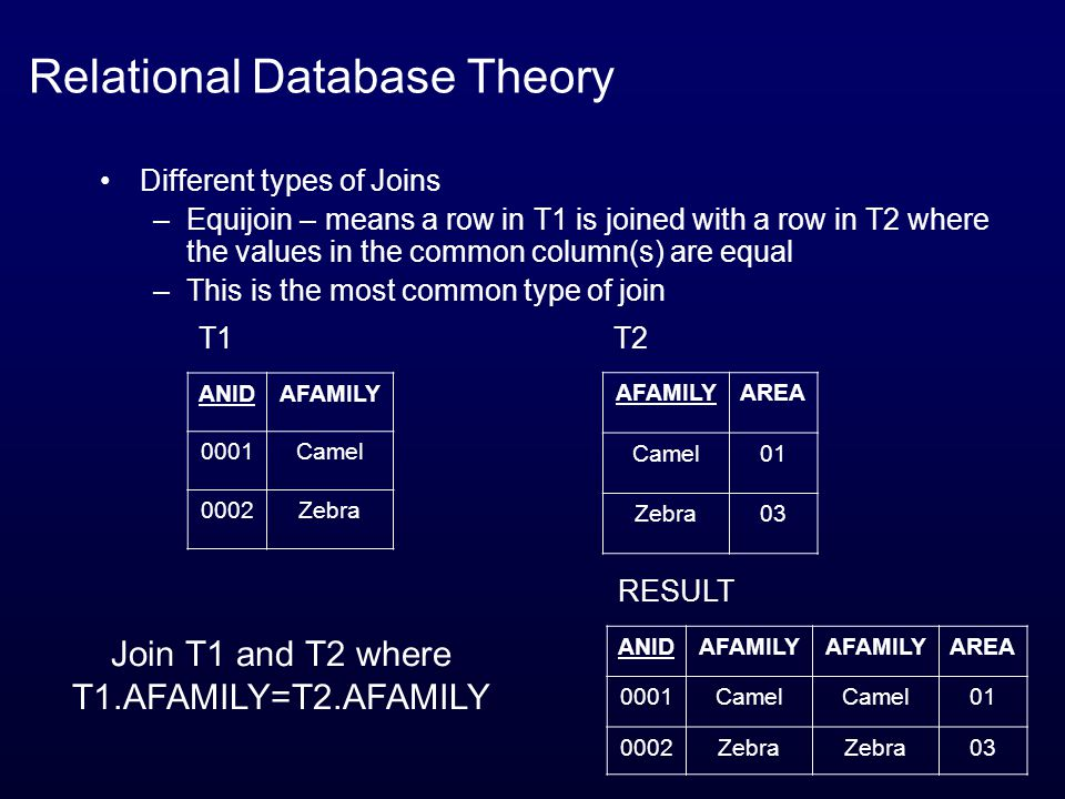 Relational Database Theory Different types of Joins –Equijoin – means a row in T1 is joined with a row in T2 where the values in the common column(s) are equal –This is the most common type of join ANIDAFAMILY 0001Camel 0002Zebra T1 AFAMILYAREA Camel01 Zebra03 T2 ANIDAFAMILY AREA 0001Camel 01 0002Zebra 03 RESULT Join T1 and T2 where T1.AFAMILY=T2.AFAMILY