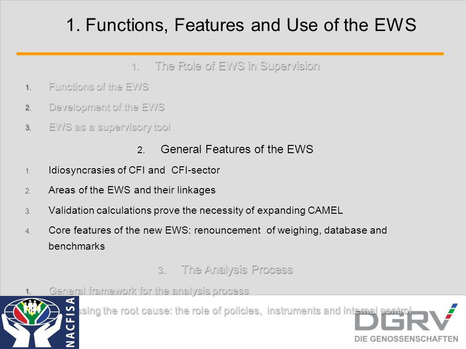 1. Functions, Features and Use of the EWS 1. The Role of EWS in Supervision 1. Functions of the EWS 2. Development of the EWS 3. EWS as a supervisory