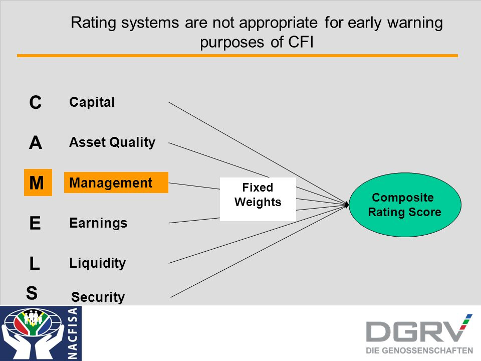 Rating systems are not appropriate for early warning purposes of CFI A Asset Quality M Management E Earnings L Liquidity S Security C Capital Composite Rating Score Fixed Weights