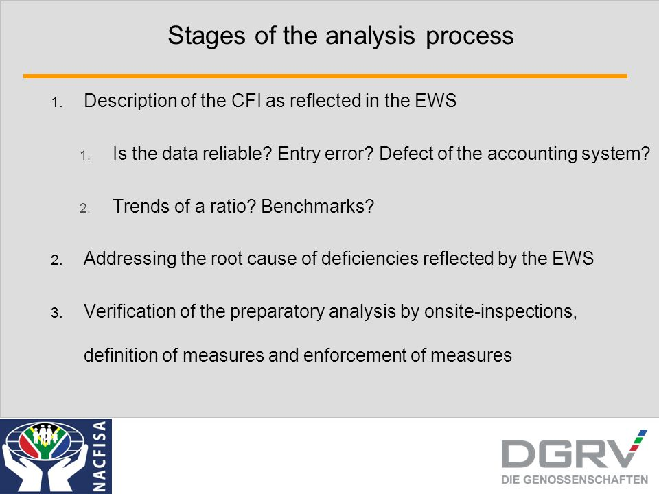 Stages of the analysis process 1. Description of the CFI as reflected in the EWS 1. Is the data reliable? Entry error? Defect of the accounting system