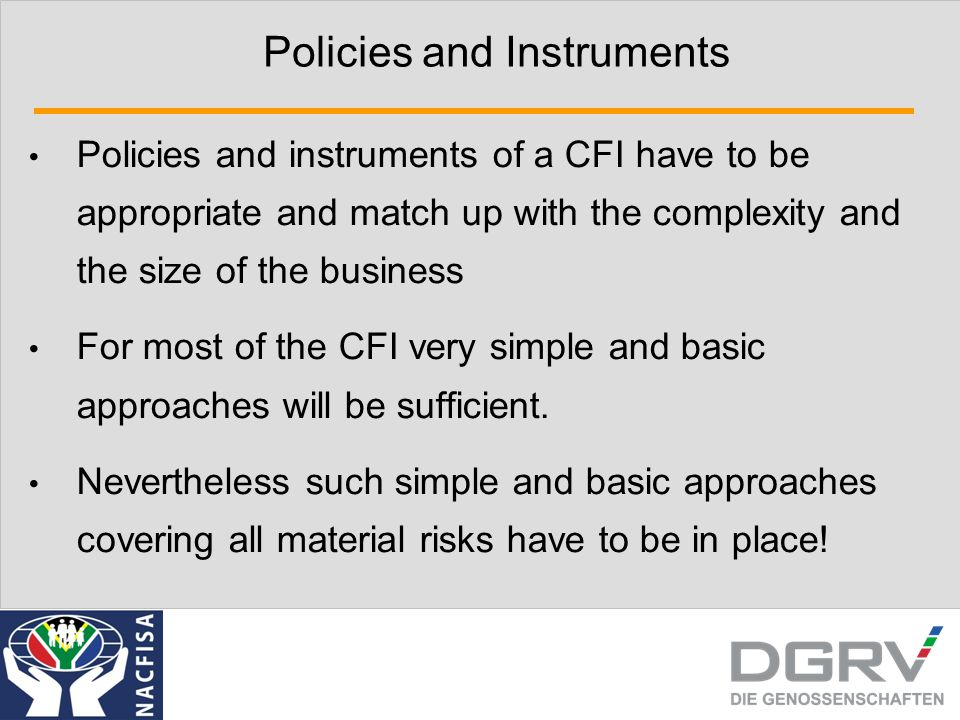 Policies and Instruments Policies and instruments of a CFI have to be appropriate and match up with the complexity and the size of the business For mo