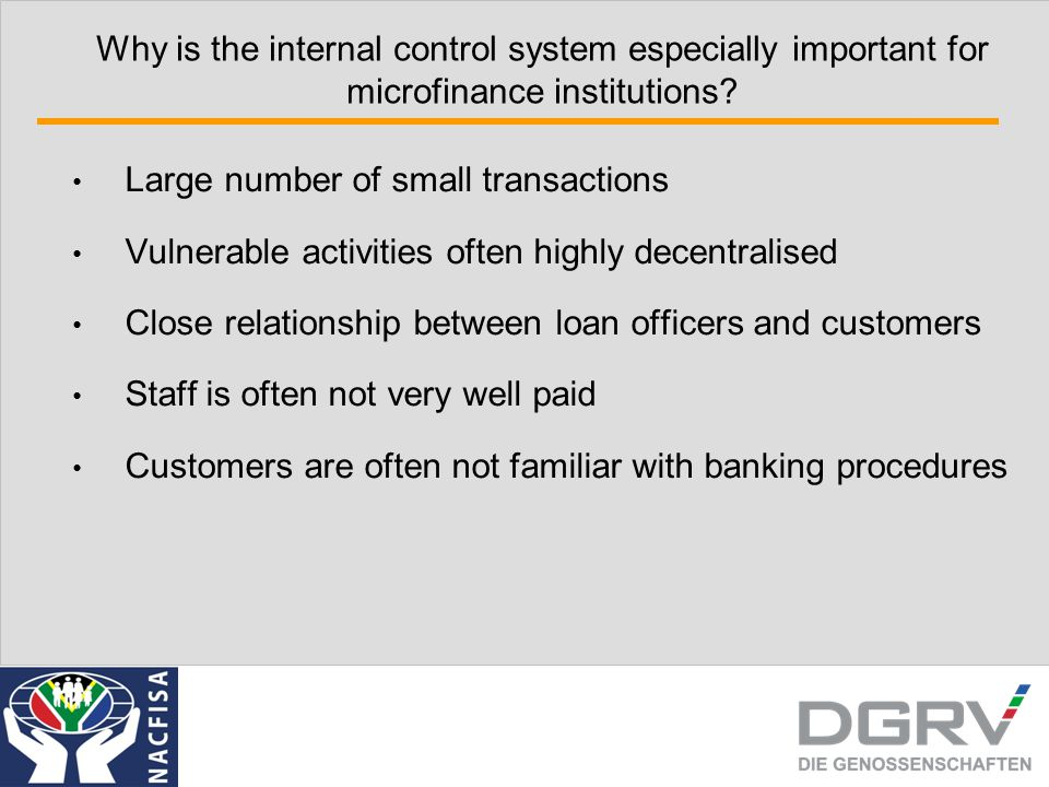 Why is the internal control system especially important for microfinance institutions? Large number of small transactions Vulnerable activities often
