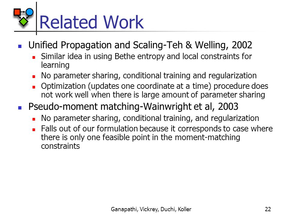 Ganapathi, Vickrey, Duchi, Koller22 Related Work Unified Propagation and Scaling-Teh & Welling, 2002 Similar idea in using Bethe entropy and local constraints for learning No parameter sharing, conditional training and regularization Optimization (updates one coordinate at a time) procedure does not work well when there is large amount of parameter sharing Pseudo-moment matching-Wainwright et al, 2003 No parameter sharing, conditional training, and regularization Falls out of our formulation because it corresponds to case where there is only one feasible point in the moment-matching constraints