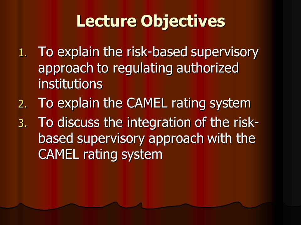 Lecture Objectives 1. To explain the risk-based supervisory approach to regulating authorized institutions 2. To explain the CAMEL rating system 3. To