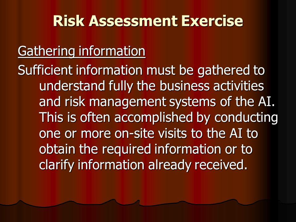Risk Assessment Exercise Gathering information Sufficient information must be gathered to understand fully the business activities and risk management