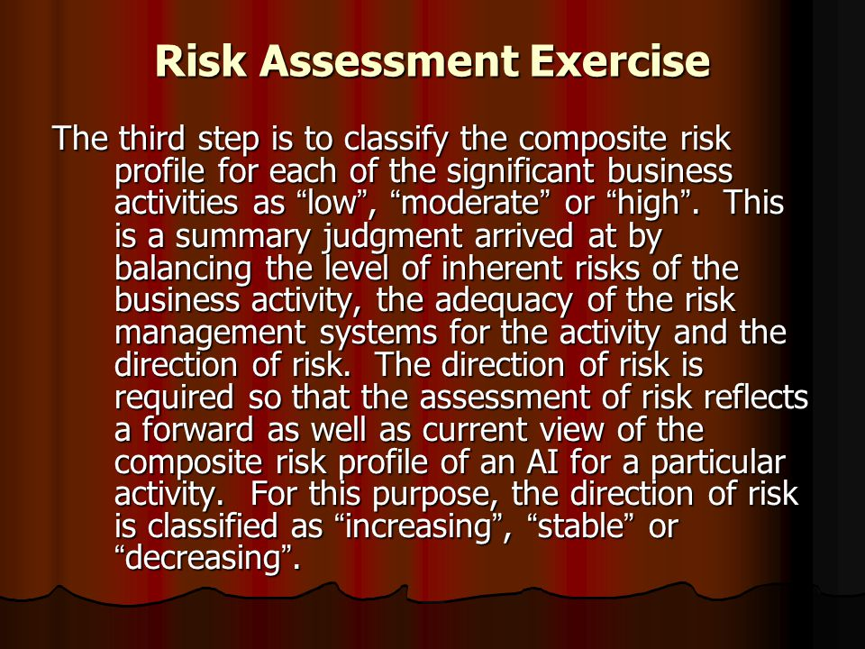 """Risk Assessment Exercise The third step is to classify the composite risk profile for each of the significant business activities as """" low """", """" modera"""