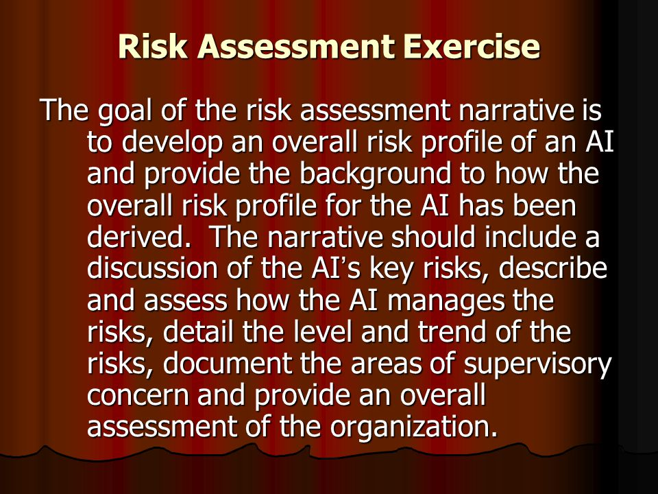 Risk Assessment Exercise The goal of the risk assessment narrative is to develop an overall risk profile of an AI and provide the background to how th