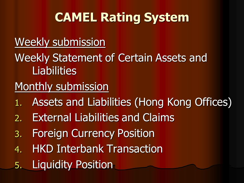 CAMEL Rating System Weekly submission Weekly Statement of Certain Assets and Liabilities Monthly submission 1. Assets and Liabilities (Hong Kong Offic