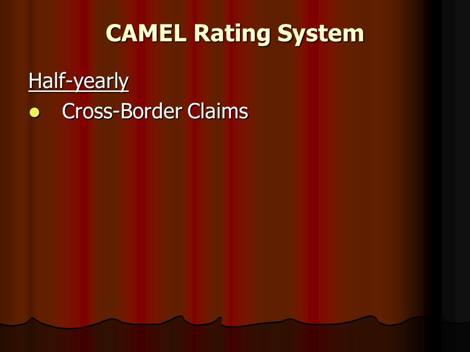 CAMEL Rating System Half-yearly Cross-Border Claims Cross-Border Claims