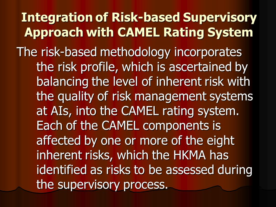Integration of Risk-based Supervisory Approach with CAMEL Rating System The risk-based methodology incorporates the risk profile, which is ascertained