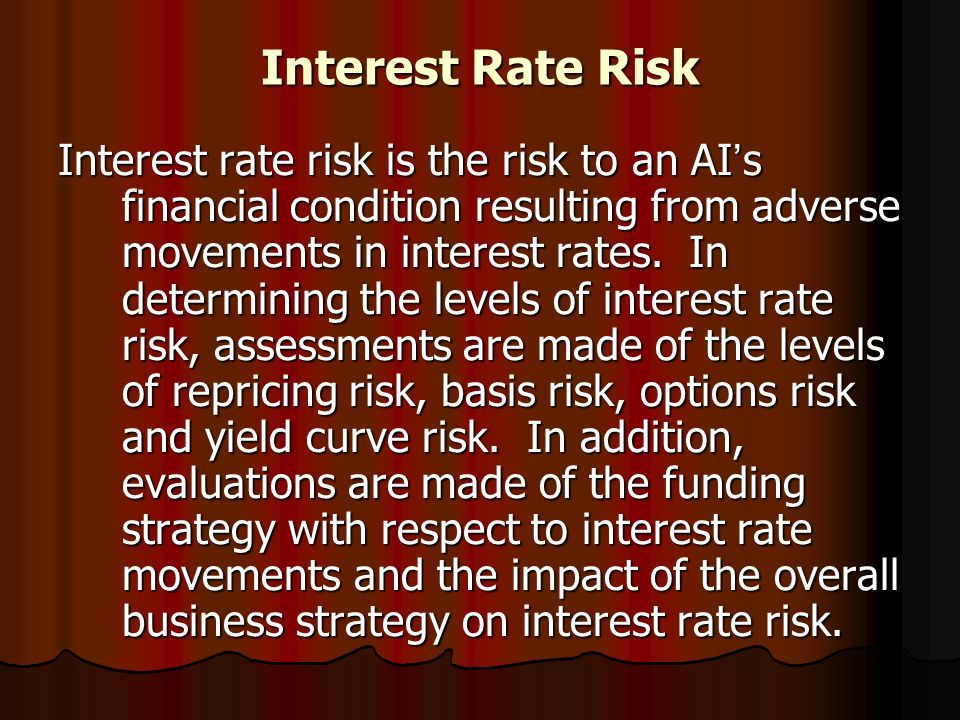 Interest Rate Risk Interest rate risk is the risk to an AI ' s financial condition resulting from adverse movements in interest rates. In determining