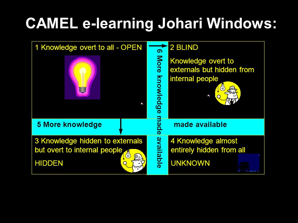 2 BLIND Knowledge overt to externals but hidden from internal people CAMEL e-learning Johari Windows: 1 Knowledge overt to all - OPEN 3 Knowledge hidden to externals but overt to internal people HIDDEN 5 More knowledge made available 6 More knowledge made available 4 Knowledge almost entirely hidden from all UNKNOWN