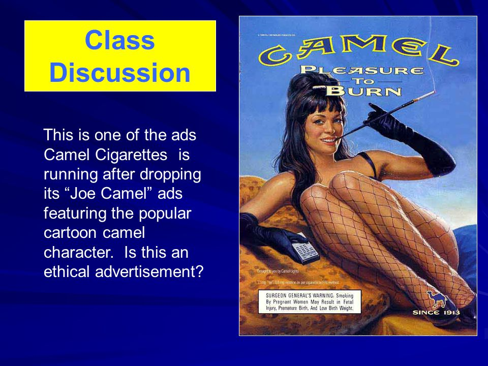 This is one of the ads Camel Cigarettes is running after dropping its Joe Camel ads featuring the popular cartoon camel character.