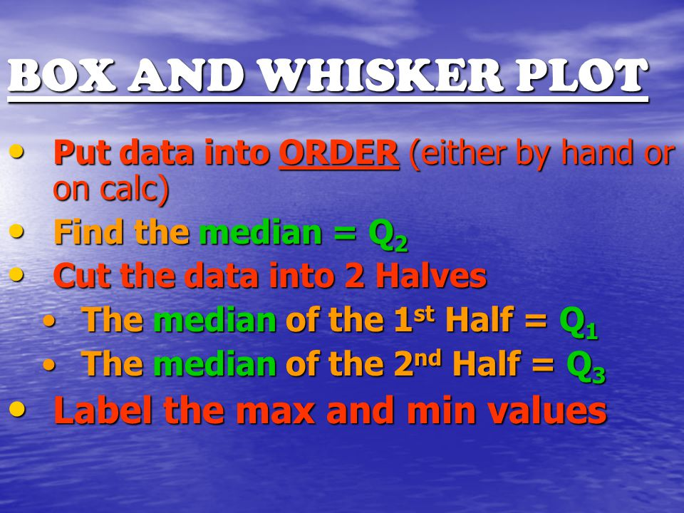 BOX AND WHISKER PLOT Put data into ORDER (either by hand or on calc) Put data into ORDER (either by hand or on calc) Find the median = Q 2 Find the median = Q 2 Cut the data into 2 Halves Cut the data into 2 Halves The median of the 1 st Half = Q 1The median of the 1 st Half = Q 1 The median of the 2 nd Half = Q 3The median of the 2 nd Half = Q 3 Label the max and min values Label the max and min values
