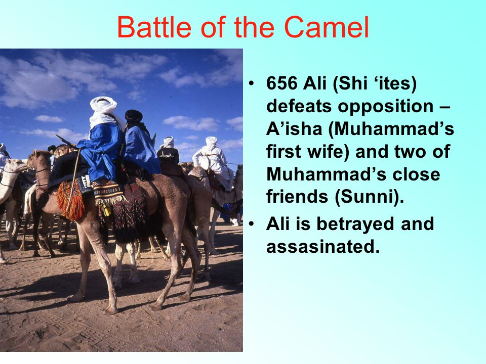 Islamic Split After Muhammad's death umma splits after third caliph Uthman is assassinated in 656.