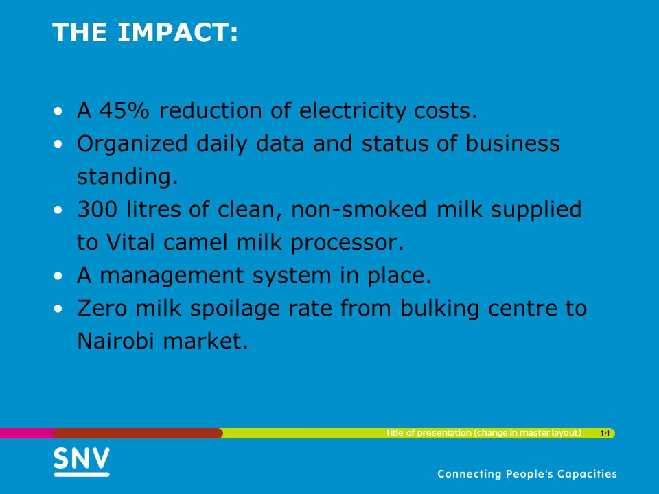 THE IMPACT: A 45% reduction of electricity costs.