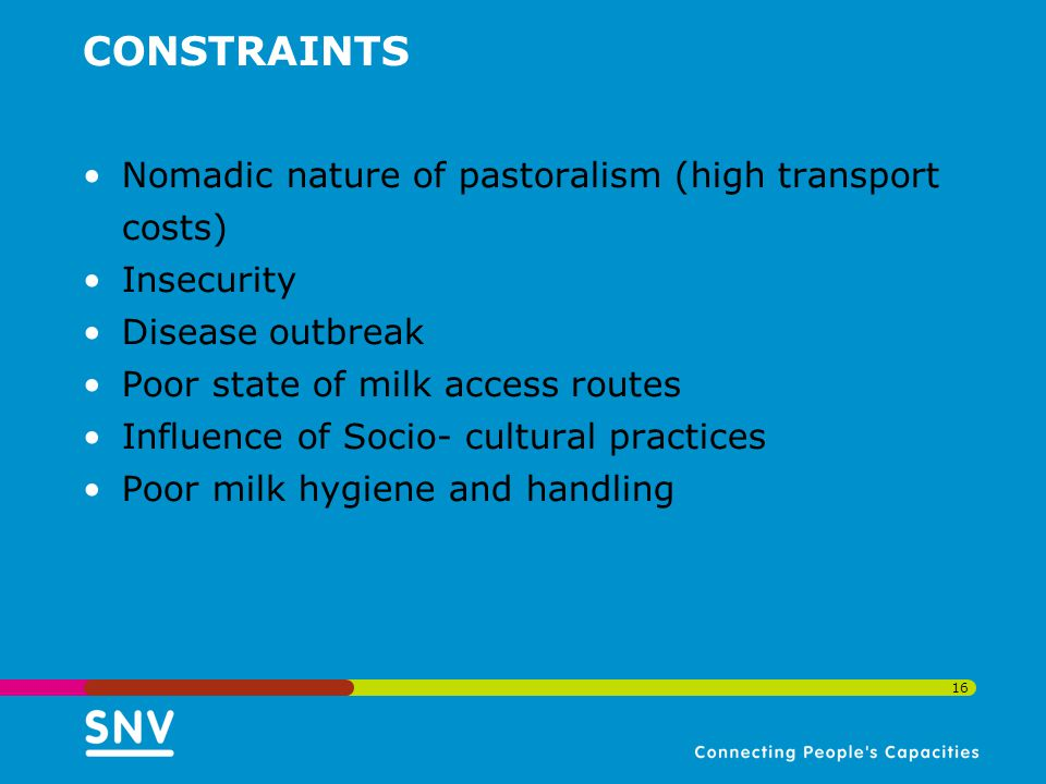 CONSTRAINTS Nomadic nature of pastoralism (high transport costs) Insecurity Disease outbreak Poor state of milk access routes Influence of Socio- cultural practices Poor milk hygiene and handling 16