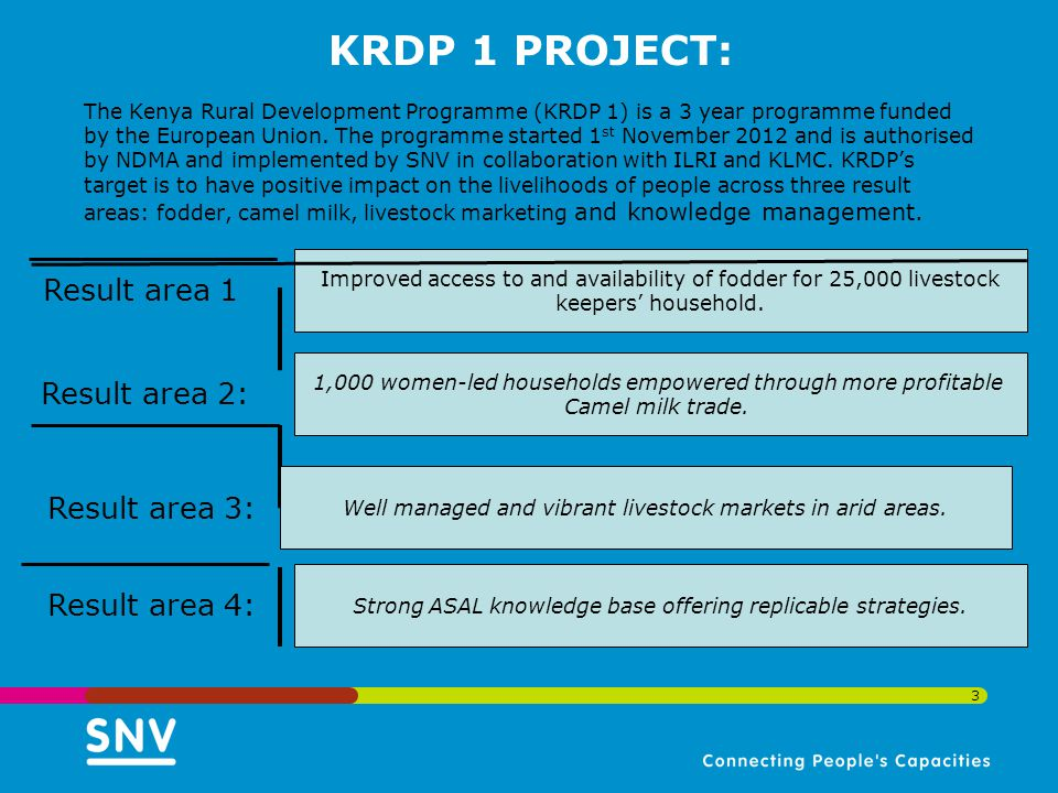 KRDP 1 PROJECT: The Kenya Rural Development Programme (KRDP 1) is a 3 year programme funded by the European Union.
