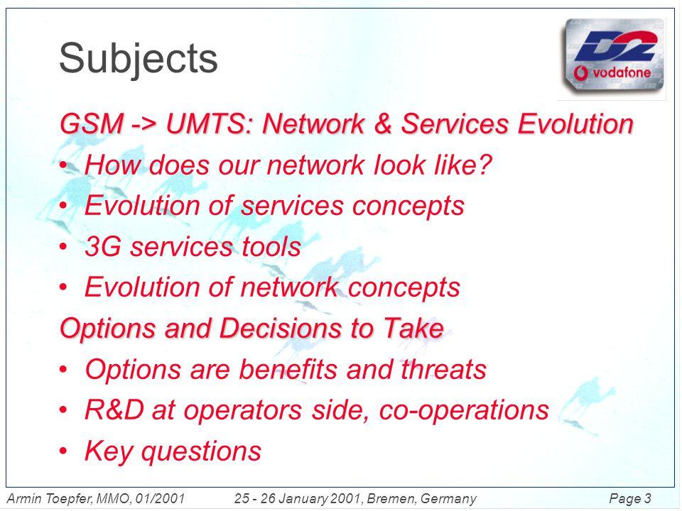 Page 14Armin Toepfer, MMO, 01/200125 - 26 January 2001, Bremen, Germany CAMEL Network Architecture Billing System SSP MSCMSC MSC CAP (GSM 9.78) VLR MSC HLR SSP VLR MSC SCE SCP/CSE SMP MAP (GSM 9.02) SSP IN/CAMEL Network Elements