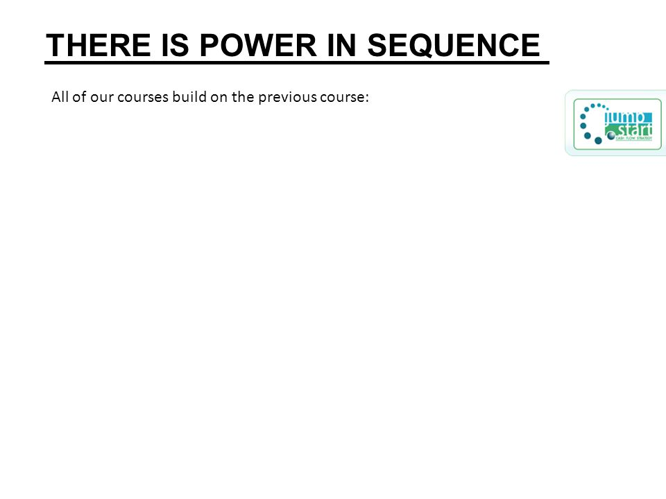 All of our courses build on the previous course: THERE IS POWER IN SEQUENCE