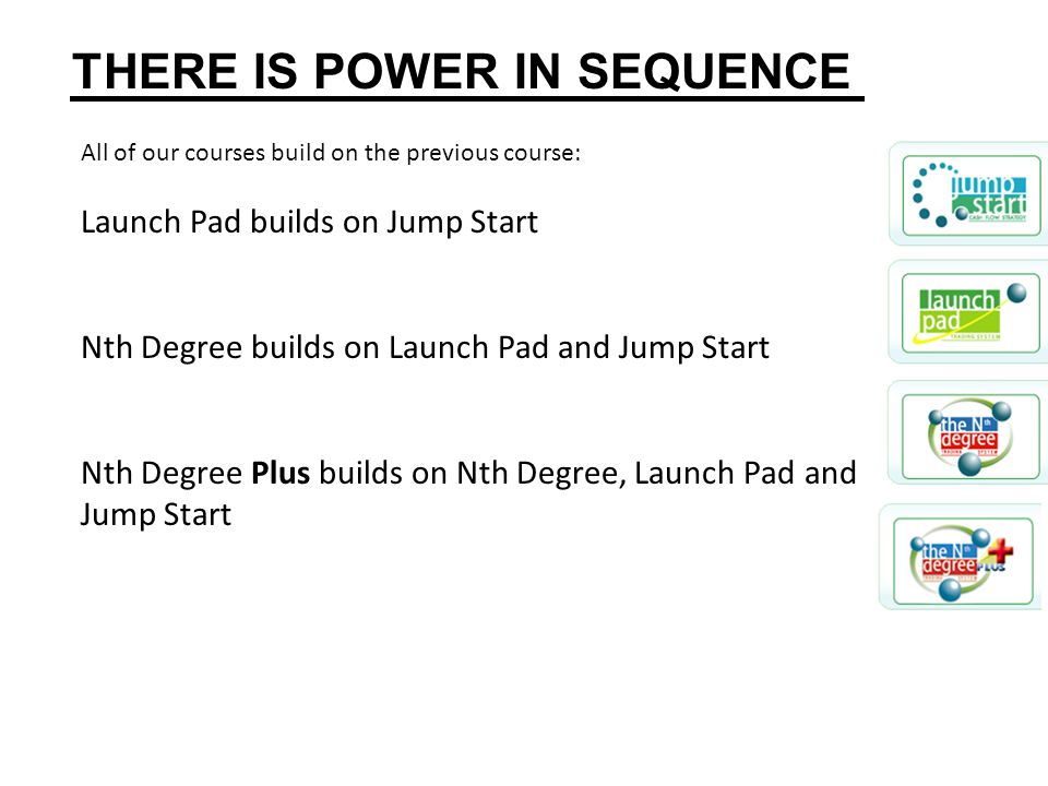 All of our courses build on the previous course: Launch Pad builds on Jump Start Nth Degree builds on Launch Pad and Jump Start Nth Degree Plus builds on Nth Degree, Launch Pad and Jump Start THERE IS POWER IN SEQUENCE