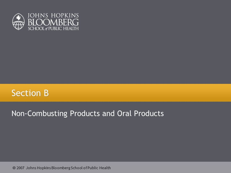  2007 Johns Hopkins Bloomberg School of Public Health Section B Non-Combusting Products and Oral Products