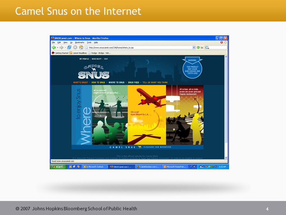  2007 Johns Hopkins Bloomberg School of Public Health 4 Camel Snus on the Internet